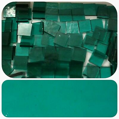 """100 - 1/2"""" Mosaic Tiles Stained Glass Clear Teal Green - backsplash dollhouse"""