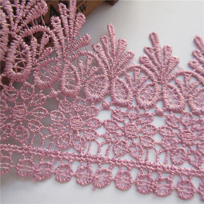 3 yd Flower Embroidered Lace Edge Trim Ribbon Wedding Applique DIY Sewing Craft
