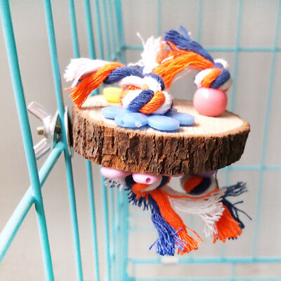 Round Wood Parrot Bird Cage Perches Stand Platform Pet Budgie Hanging Bite Toy
