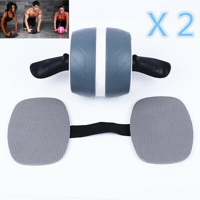 2 x Fitness Ab Carver Pro Exercise Wheel Roller Six Pack Abs Workout Gym