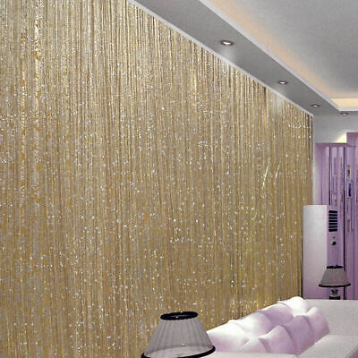 Glitter String Curtain Panels Fly Screen & Room Divider Voile Net Curtains Blind