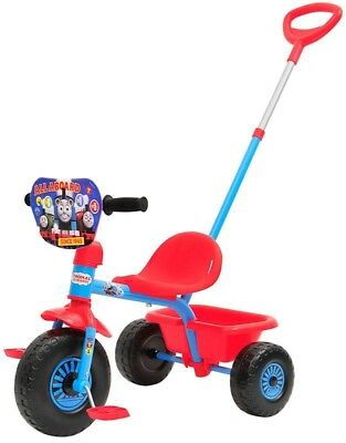 Thomas and Friends Blue Bike Trike Ride On w Parent Handle Toy Bucket Kids