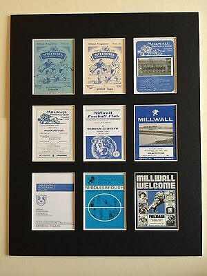 """Millwall FC Football Club Retro Programme Mounted Picture 14"""" by 11"""" Free P&P"""
