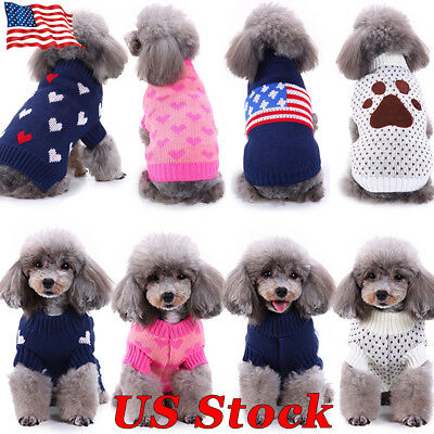 Winter Warm Puppy Clothes Outfit Pet Cat Jacket Coat Soft Sweater For Small Dogs