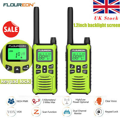 2PCS Walkie Talkies PMR 446MHZ 2-Way Radio 16CH Long Range LCD Rechargeable VOX