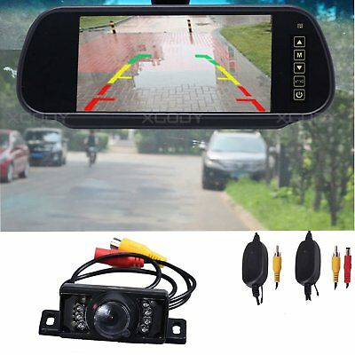 "Wireless 7"" Monitor Auto Rear View System Parking Reverse Camera Night Vision"