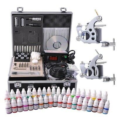 Complete Tattoo Kit 40 Color Ink 2 Machine Guns Set LCD Power Supply Equipment