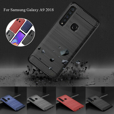 For Samsung Galaxy A9 A8 A7 A6 2018 Slim Fiber Carbon Silicone Rugged Case Cover