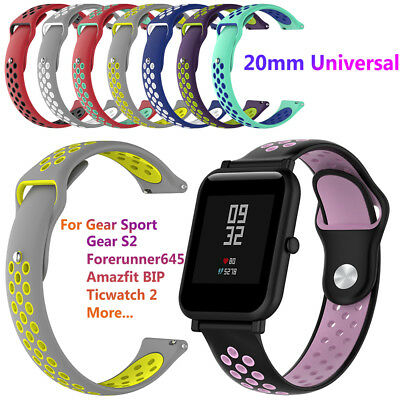 20mm Silicone Wrist Strap Smart Band for Amazfit Bip Samsung Gear Sport S2 Newst