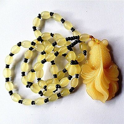 BC10028 53x32x14mm/24inch Beautiful Yellow Jade carved goldfish Long Necklace