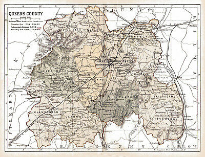 An enlarged 1897 map of Queens County,  Ireland.
