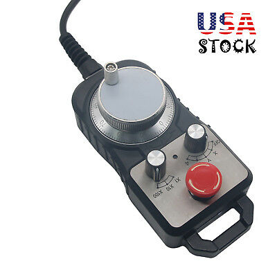 Universal CNC 4 Axis MPG Pendant Handwheel Emergency Stop for Siemens FAGOR USA