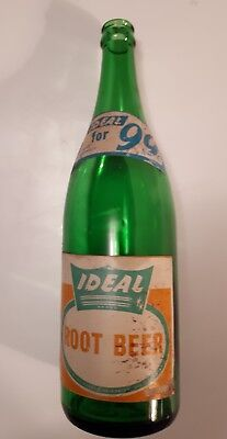 """Rare Paper Labels(2) (Guelph) """"ideal Root Beer"""" 30 Oz Green Glass"""