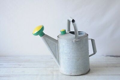 Vintage Galvanized Metal Watering Can Water Sprinkling Can Green and Yellow Nozz