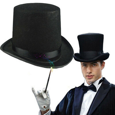 Adult Deluxe Black Top Hat Topper Victorian Ringmaster Lincoln Fancy Dress