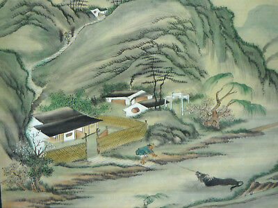 Vintage JAPANESE Painting on Silk - Traditional Mountain Village Scene