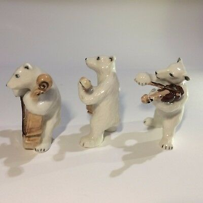 Last Hand-Painted Polar Bear Music Band Ceramic Miniature Collectible Decor Gift