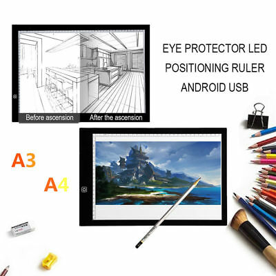 A3 A4 LED Drawing Board Pad Ultra Slim Tracing Light Box Copy Craft Art Paint UK