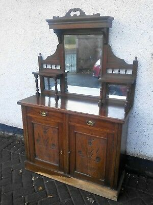 Antique chiffonier buffet mirror back sideboard cupboard possibly Victorian