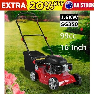 Durable 16 Inch 99cc Lawn Machine 4 Wheels Hand Push Gasoline Lawnmower 1.6Kw AU