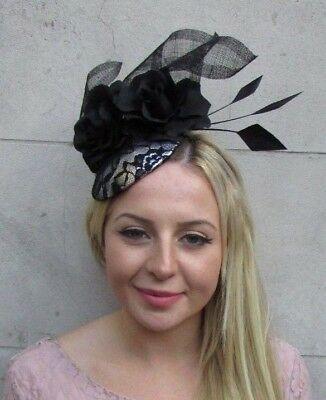 Black Silver Rose Flower Feather Pillbox Hat Fascinator Races Wedding Hair 6384