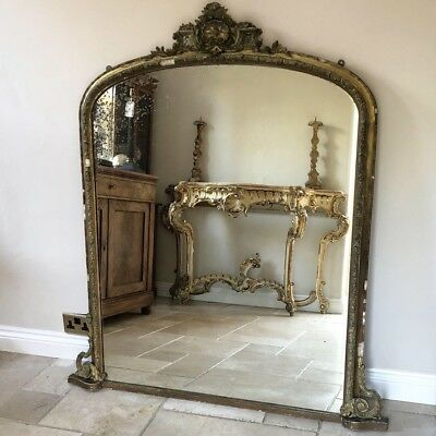 19Th Century Giltwood And Gesso Antique Overmantle Foxing Mirror 130 X 145 Cm