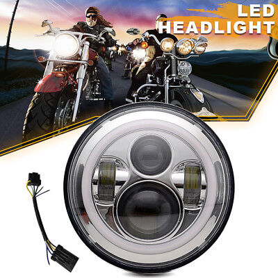7 Inch LED Headlight For Harley Davidson MOTORCYCLE CHROME PROJECTOR DAYMAKER