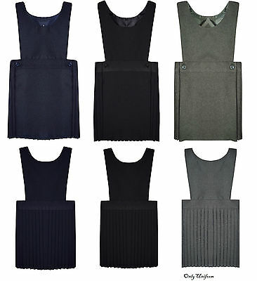 Pleated Bib Pinafore Dress Age 2-16 Girls School Uniform Grey Navy Black NEW