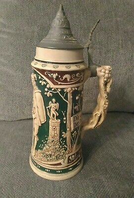 BEER STEIN MADE IN GERMANY, COLORFUL, PEWTER LID 12 inch