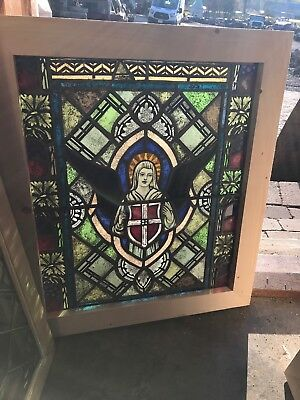 SG 2566 antique painted in fired stained glass angel window 23 3/8 x 27