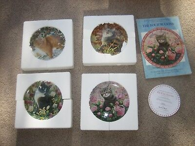 Mint Complete Collection of 4 Plates Four Seasons Cats Danbury Lesley Anne Ivory