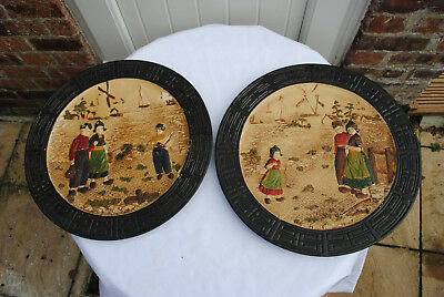 ANTIQUE BRETBY PAIR of WALL PLAQUES cc.1900's. DUTCH RURAL SCENE. OFFERS WELCOME
