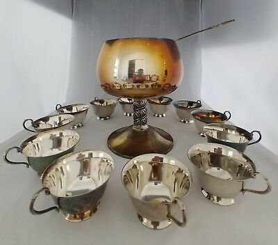 Vintage Silver-plated Pedestal Punch Bowl w/12 Cups & Ladle Made in Spain PT026