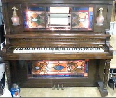 Cunningham upright – 1920's? Mahogany 10 tune O Roll player piano