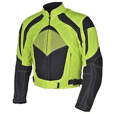 Men Motorcycle Textile Jacket WaterProof  w CE Protection Neon Green WhiteMBJ060