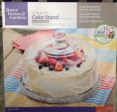 BETTER HOMES AND GARDENS Galvanized Cake Stand with Glass Dome 10.24 dia NEW