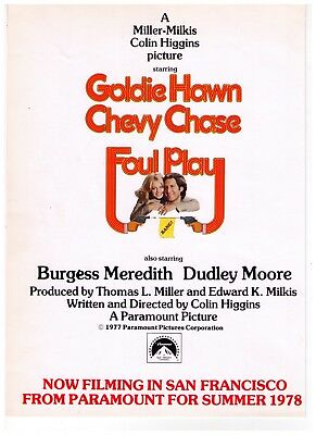 Foul Play 1978 Chevy Chase/Goldie Hawn Comedy Movie Teaser Print Advertisement
