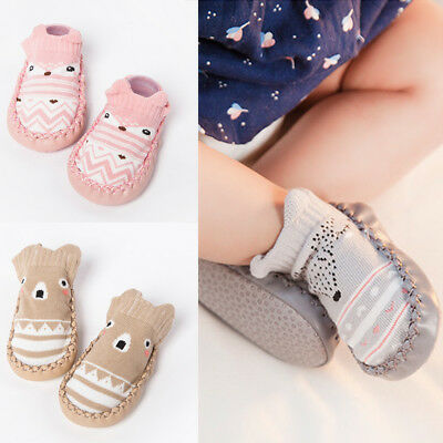0-18months New Born Baby Toddler Anti-Slip Boot Socks Cartoon Warm Slipper Shoes
