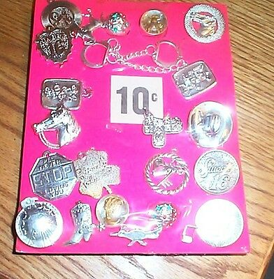 Vintage display card 10c Charms key chains pins  FREE SHIPPING #15