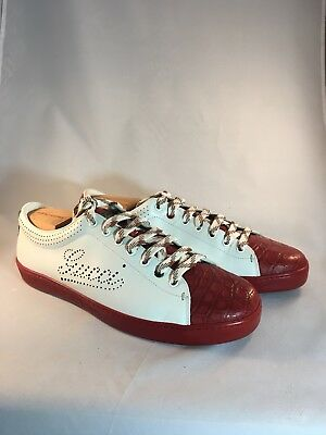 fb68a2e7127 Gucci Red Crocodile   White Leather Sneaker 202753 Men s Size 11 G Italy US  12
