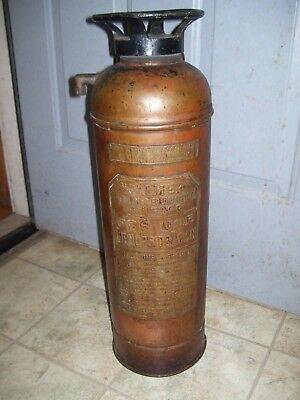 Vintage Palmer Copper and Brass Fire Extinguisher With Glass Insert  (Empty)
