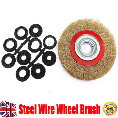 6″ 150mm Wire Wheel Brush With Adaptor Rings For Bench Grinder Grind Polish