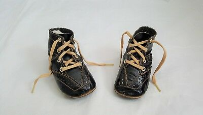 """Antique German French Black Leather Lace Up Child or Large Doll Shoes 4"""" LONG"""