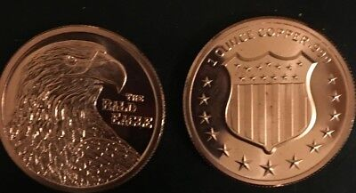 (1)  Bald Eagle 1 oz .999 Copper Bullion Rounds Coins LOOKS PROOF IN CAPS