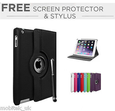 Leather Plain 360 Degrees Rotating Case Cover Stand For Apple iPad 5 Air & Air 2