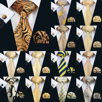 USA Silk Gold Yellow Men Ties Solid Paisley Plaid Striped Necktie Set Wedding