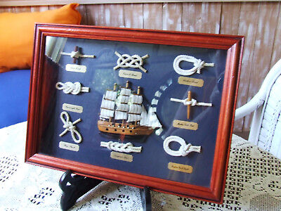 Nautical Shadow Box Pictureknot Displayshipglasswood Frame13 3