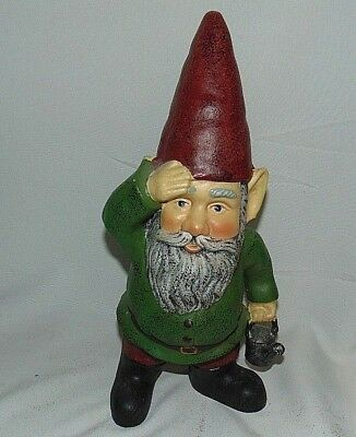 Garden Gnome Cast Iron Standing Wiping Brow Watering Can