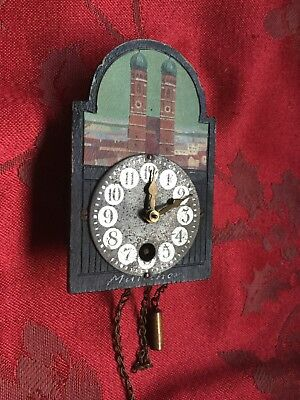 Vintage Miniature Hand Painted Wood Dial German Wall Clock Munchen