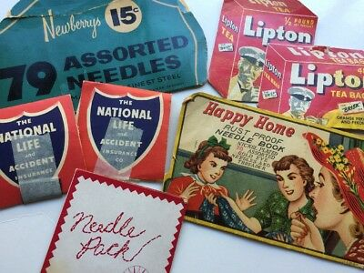 Vintage Sewing Needle Packs Lipton Newberrys Happy Home National Life Insurance